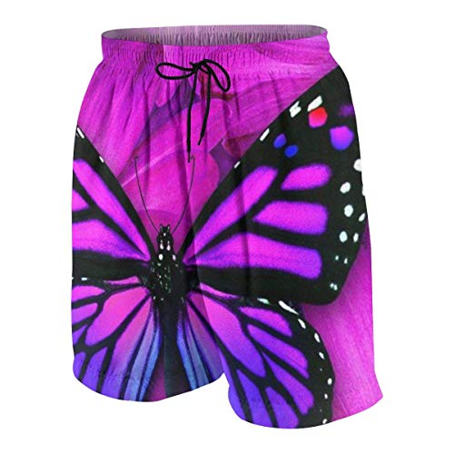 Purple Butterfly Sackpack Drawstring Backpack Sport Gym Bag Yoga Runner Daypack Boys Beach Shorts Quick Dry Beach Swim Trunks Kids Swimsuit Beach Shorts,Board Shorts Big and Tall XL