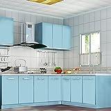 Auralum PVC Klebefolie Dekofolie 0.61*5M Schränke Tapeten Möbelfolie Küchenfolie Selbstklebend für Küchenschränke Möbel Blau