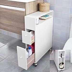 Sobuy frg51 w it chariot de rangement placard de salle de for Placard d angle salle de bain