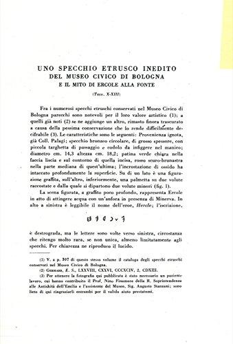 Uno specchio etrusco inedito del Museo Civico di Bologna e il mito di Ercole alla fonte.