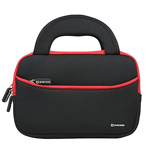 7 - 8 inch Tablet Sleeve, Evecase Ultra-Portable Neoprene Zipper Carrying Sleeve Case Bag with Accessory Pocket - Black / Red