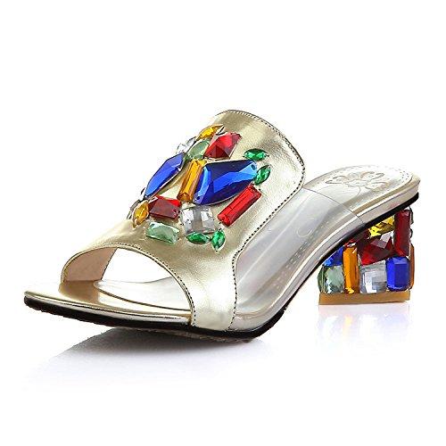 ZYUSHIZ Künstliche Crystal Frau Sandalen Hausschuhe der minimalistischen Stil 37EU