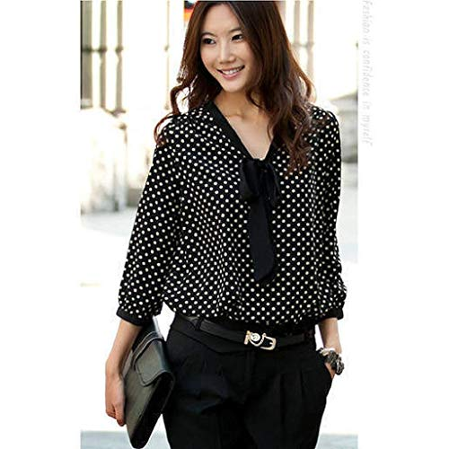 Imagen de shobdw mujeres primavera verano tallas grandes de manga larga suelta con cuello en v gasa bowknot camisa casual dots moda oficina señoras camisa blusa negro,m  alternativa