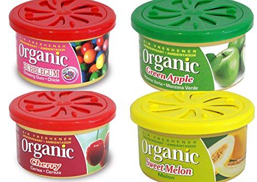 4 Organic Duftdosen mit verstellbarem Dosierdeckel im Besteller Mix : 1 x Green Apple - Apfel, 1 x Cherry - Kirsche, 1 x Bubble Gum - Kaugummi, 1 x Sweet Melon - Melone