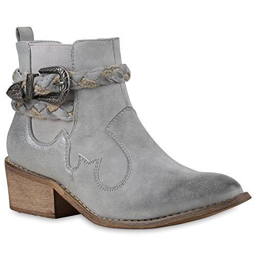 Stiefelparadies Damen Stiefeletten Cowboy Boots Western Stiefel Metallic 131482 Grau 39 Flandell (Western Cowgirl Schuh Boot)