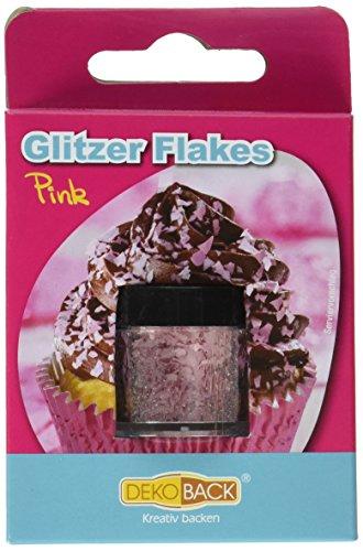 Dekoback Glitzer Flakes, pink, 3er Pack (3 x1,5 g)