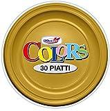 GIRM® - S11184 - Piatti piani Oro 30 pezzi, piatti monouso per feste, piatti di plastica monouso, piatti piani colorati.