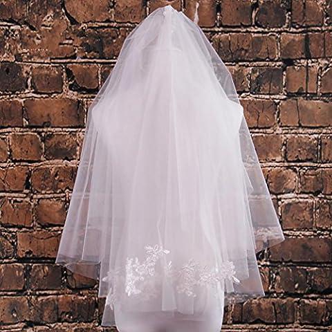 Brautschleier Ellbogen lang Spitzenstickerei und Kamm?Layer 2