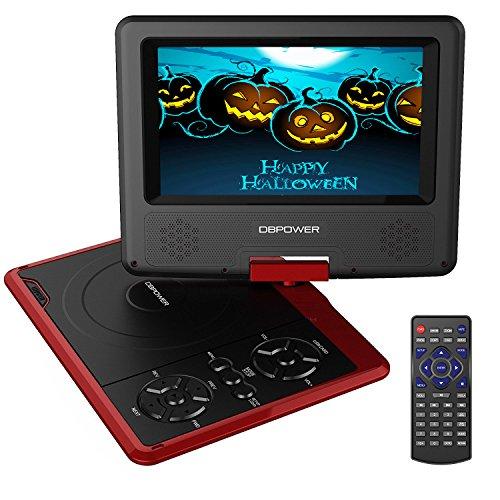 7.5'' Tragbarer DVD-Player, 5 Stunden Akku, schwenkbarer Bildschirm, unterstützt SD-Karte und USB, mit Spiele-Joystick, Auto-Ladegerät - Rot Billige Dvd-player
