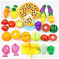 Reasoncool Pretend Play Food Toys, 24PC Kitchen Dinner Cutting Treat Fun Play Food Toy Set Home Living Children Kids Educational Toys
