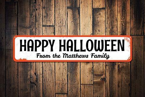 ild für Halloween, personalisierbar, mit Familienname, Happy Halloween, Dekoration, Metallschild, lustiges Aluminiumschild für Garage, Haus, Hof, Zaun Auffahrt. ()
