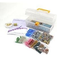 Creativity Papers - Kit per fabbricazione gioielli, contiene un vasto assortimento di perline in vetro placcate in argento e biconiche, con cordone elastico, filo e tubicini per aggraffatura, tutto ciò che serve per creare molti gioielli, regalo perfetto per hobby creativi, istruzioni incluse