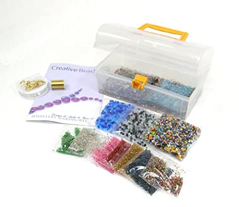 Jewellery Making Kit - Contains Silver Lined Beads, Bi-cone Beads, a wide assortment of Glass Beads, Stretchy Cord, Beading Wire, Crimping Tubes. Everything you need to make lots of Jewellery - Ideal gift or party activity - Pearl Fili Craft Beads