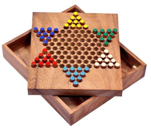 Logoplay Holzspiele Halma Gr. S - Stern Halma - Chinese Checkers - Strategiespiel - Gesellschaftsspiel aus Holz (Checkers Board Spiel)