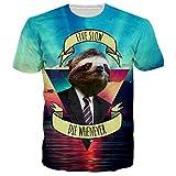 Chicolife Unisex Funny Sloth Live Slow imprimé à manches courtes T-shirts à manches courtes