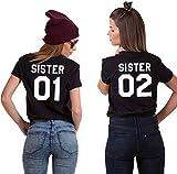 Best Friends Damen T-Shirt Kurzarm Sister 01 und Sister 02 (Schwarz - 01, M)