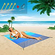 Beach Blanket,79''×83'' Beach Mat Sandproof Waterproof,Oversized Lightweight Portable Picnic B