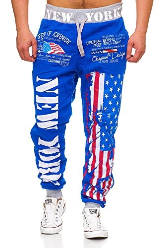 L.gonline Herren Jogginghose Newyork 520 (XXL, Blau New York)