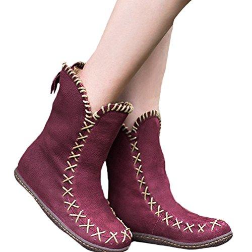 Vogstyle Damen Hanf Seil Weben Handgefertigt Stiefel Rückseite Reißverschluss Flache Stiefel Burgund