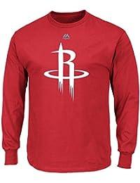 "Houston Rockets Majestic NBA ""Supreme Logo"" Men's Long Sleeve T-Shirt Chemise - Red"