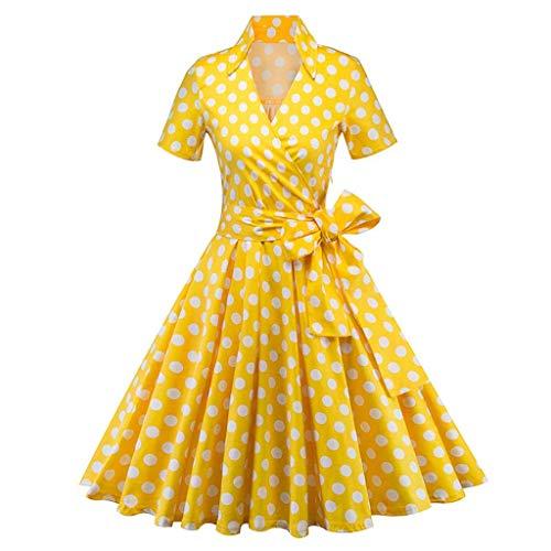Jaysis Damen Elegant 1950er Vintage Cocktailkleid Rockabilly Kleid Spitzenkleider Polka Dots Retro Vintage Petticoat Kleider Schwingen Faltenrock