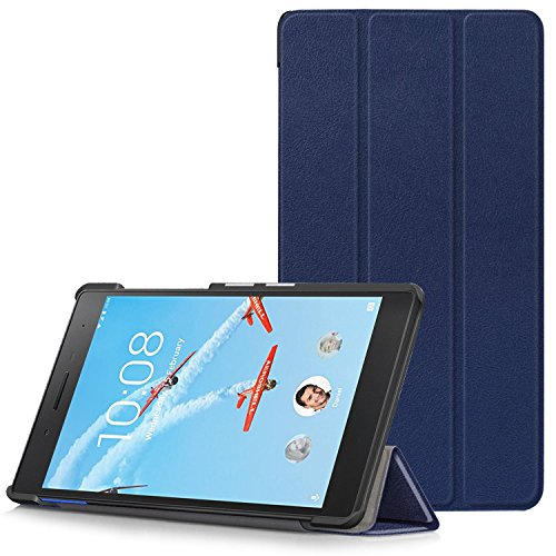 Lenovo Tab 7 Essential Hülle - Ultra Dünn und Leicht PU Leder Schutzhülle mit Standfunktion für Lenovo Tab 7 Essential 17,78 cm (7 Zoll) Tablet-PC, Dunkelblau (Nicht für Lenovo Tab3 7 Essential)