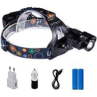 Huntvp Lanpada da Testa 6000lm T6 2*R2 LED Lampada Frontale Ricaricabile Torcia da Testa Impermeabile per Campeggio Pesca Ciclismo Corsa Escursionismo Caccia
