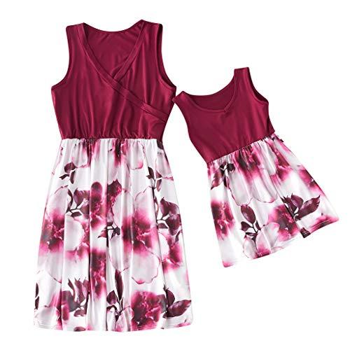 Cooljun Mommy & Me Mama & Baby Eltern-Kind-Kleid Lady Mommy Sleeveless Floral Patchwork Kleid Passende Familienkleidung