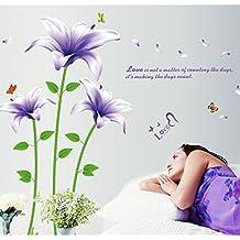 Color morado lirios flores mariposas Inglés letras adhesivo decorativo para pared, diseño de casa de vinilo extraíble papel pintado de salón dormitorio cocina arte imagen PVC Murales de ventana puerta decoración + 3d rana coche adhesivo regalo