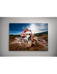 """Sport Extrême 002, Motocross, Poster en Vinyle Affiche Plastifiée Murale Pop-Art Décoration Intérieure avec Dessin Coloré. Grandeur: 20"""" x 30"""" - 51 x 76 cm"""