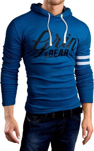 Grin&Bear Slim Fit Hoodie Kapuzenpullover Sweatshirt Jacke Hemd, Petrol Bedruckt, S, GB101