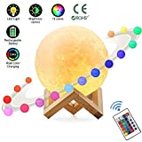 HUAXING Vollmondlampe, LED Lunar Night Light Remote Control Table Lampe Dimmable Helligkeit 16 Hauptfarben, 4 Light Conversion Modes mit USB Charging Moonlight Gift