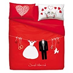 Idea Regalo - BASSETTI SET LENZUOLA MATRIMONIALI LOVE IS A COUPLE