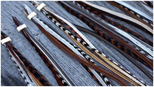 Grizzly-Extensions 5 einzelne Feder Extensions LANG Naturtöne (Sorte:Cognac) (NEU) (Microringe für braunes Haar)