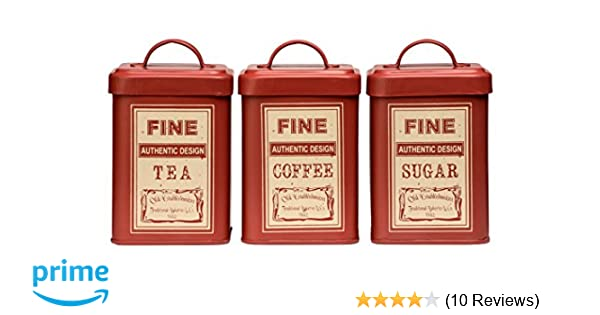 Set of 3 Premier Housewares Whitby Tea//Coffee//Sugar Canisters Red