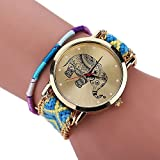 NEEVAS Lovely Women Elephant Woven Braid Bracelet WristBand Watch Girl Gift (C)