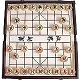 Gobus Chinesisches Schachspiel in Einer faltbaren Box Reise Spiele Sets Xiangqi Fantastische Brettspiele für Schach Anfänger und Spieler (Leder Box Farbe zufällig)