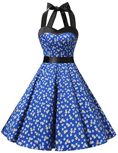 Dresstells Neckholder Rockabilly 50er Vintage Retro Kleid Petticoat Faltenrock Royal Blue Flower - Satin Kleider Blue Frauen Für