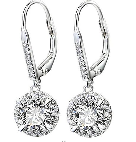 DEWANG 925 Sterling Silver Round Cut White Cubic Zirconia Lever-back Drop Earrings