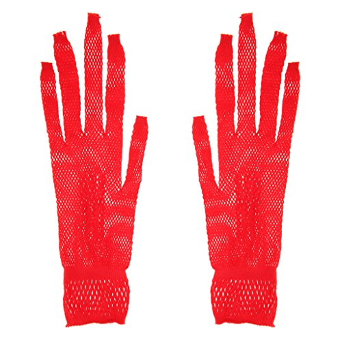 Sharplace Elegant Netzhandschuhe Hochzeit Spitze Fischnetz Handschuhe für Erwachsene - Rot