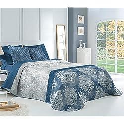 Textilonline - Colcha Bouti Elena (Cama 180 cms., Color Azul)