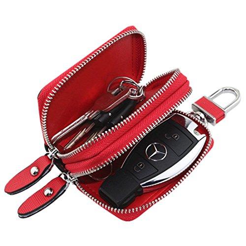 Esdrem-Unisex-Echtleder-Schlüssel-Hülle/Halter - mit Doppelreißverschluss - Auto-Schlüsselanhänger-Schlüsseletui rot