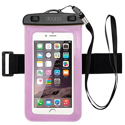 doupi Wasserdichte Schutztasche 100x190mm für 4,3/7,0 Zoll Tablet Touchscreen Funktion Wasserfest Schutzhülle Waterproof water resistant Beach Bag Pink