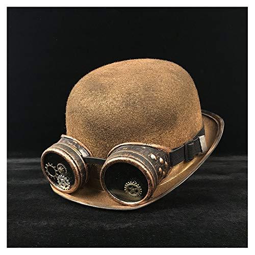 Steampunk Bowler Hat Wome Männer Cosplay Brille Top Hüte Headwear Dome Hut Hut (Farbe : Gold BLG, Größe : 57-58 cm)