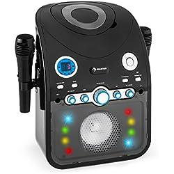 auna StarMaker • chaîne karaoké pour Enfants • 2 Microphones • Bluetooth • Enceinte intégrée • Lecteur CD+G • Echo Effekt • Fonction A.V.C. • Sortie vidéo • Port USB • Effets lumières LED • Noir