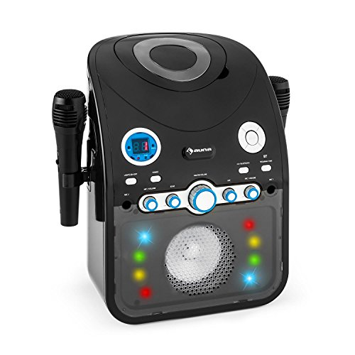 AUNA StarMaker Karaokemaschine Karaoke Player Anlage (Multicolor LED-Lichteffekt, Bluetooth, CD-Player, 2 x Mikrofon, USB-Port, Video-Ausgang) schwarz