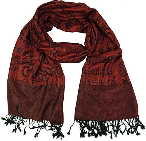 Guru-Shop Pashmina Viskose Schal/Stola mit OM Muster, Herren/Damen, Rot, Kunstfaser, Size:One Size, 180x70 cm, Schals Alternative Bekleidung (Rot Kunstfaser)