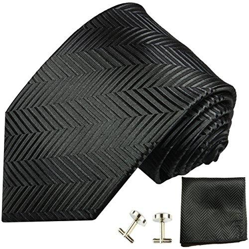 Cravate homme noir ensemble de cravate 3 Pièces ( longueur 165cm )