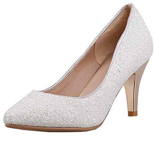 AIYOUMEI Damen Spitz Glitzer Pumps mit 8cm Absatz Stiletto High Heels Modern Pailletten Schuhe Weiß