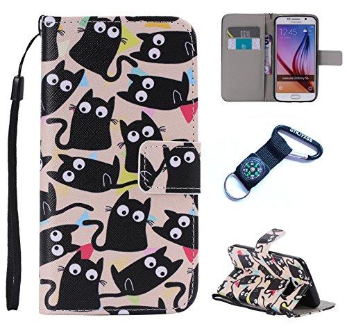 für Samsung Galaxy S6 Hülle Blume Premium PU Leder Schutzhülle für Samsung Galaxy S6 Bookstyle Tasche Schale PU Case mit Standfunktion(+Outdoor Kompass Schlüsselanhänge) (8)